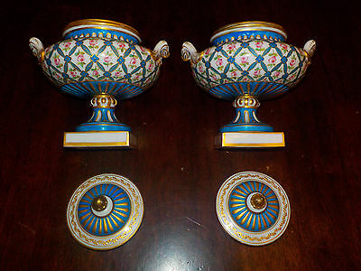 2 Sevres ? Porcelain Vases With Covers, Artist Signed?, 1753 Mark, Very Pretty!
