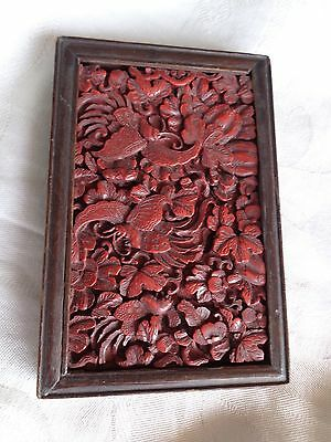 Antique Chinese Qing Red Cinnabar Lacquer Carved Hummingbirds Bees Plaque Tile