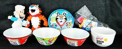Kellogg's Cereal Advertising Lot Toy Bowl Plush Tony The Tiger Tucan Sam Wendel