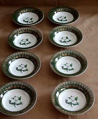 American Limoges Trillium Forest Green Fruit Sauce Dessert Bowls 8 pc I-T S530