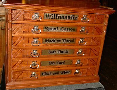 6 drawer oak Willimantic spool cabinet--excellent condition----15028