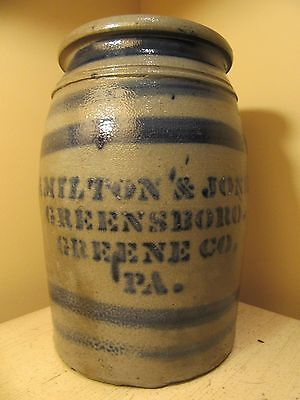 Antique One-Gallon Cobalt-Decorated and Stencilled Stoneware Jar