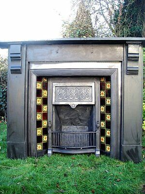 Antique Original Old Cast Iron Tiled Victorian Fireplace
