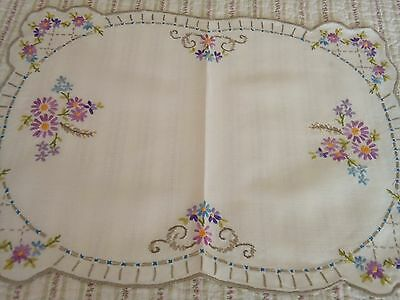 Vintage Hand Embroidered Linen Tray Cloth / Table Topper
