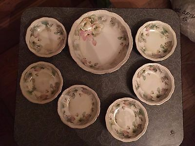 Antique Three Crown China Germany Floral 7 Piece Berry Set