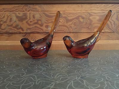 Vintage Pair of Amber Glass Bird Figurines