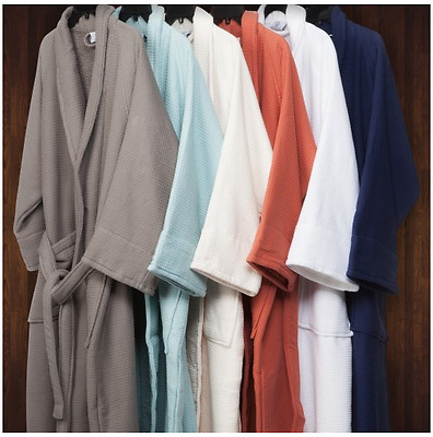 100% Cotton Waffle Weave Spa Bath Robe. Soft & Luxurious. Unisex. Men/Women