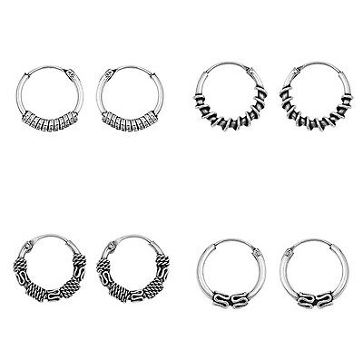 Sterling 925 Silver Bali Balinese Hoop Ring Sleeper Earrings Ethnic Boho