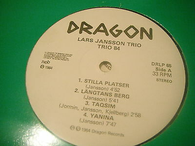 Lars Jansson Trio ‎– Trio 84 (DRAGON RECORDS 1984 (SWEDISH JAZZ)(VG+)