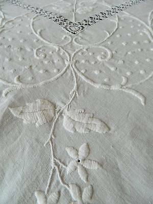 Antique large white Irish linen bedspread with super hand worked embroidery