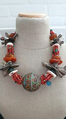 Old Moroccan Berber jewelry Dowry necklace, fossil amber, egg bead, silver,coral