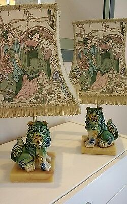 FABULOUS Pair of Chinese Foo Dogs Lions Table Lamps with Oriental Shades - RARE!