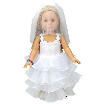 White Wedding Dress with Veil Dolls Costume for 18inch American Girl Doll