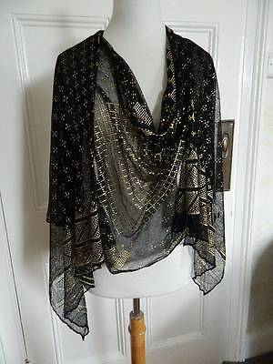 Antique 1920's black tulle net and gold Assuit Egyptian Coptic shawl.