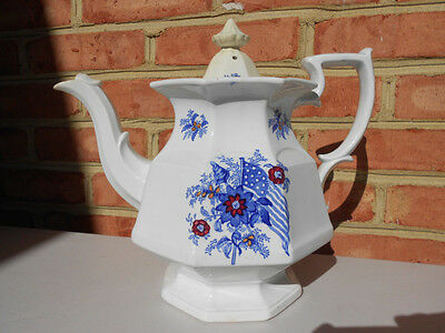 Old Antique White Ironstone Teapot Coffeepot w American Flag Liberty Cap Etc