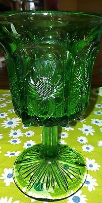 Vintage L.G. Wright Green Goblet/Water Glass Thistle Pattern