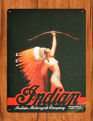 "TIN-UPS TIN SIGN ""Indian Motorcycl""e Oil Gas Garage Vintage Wall Decor"