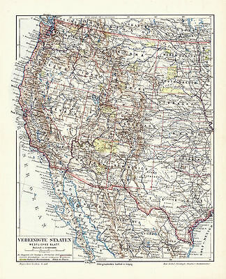 Antique German Color Map of the Western United States incl. California.