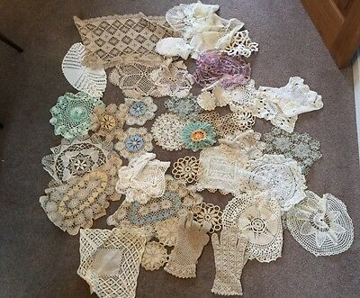Bundle of 38 vintage embroidered cloths, 40 crochet work , and 30 hankies