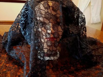 """Black Lace Mourning Veil or Shawl Floral Lace with Ruffled Edge 46"""" Square"""