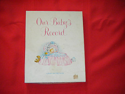 Vintage Unused Pink Satin 1941 NEW BABY BOOK With Box