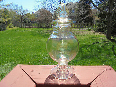 Vintage Glass Apothecary Jar Dakota Swirl Pattern Footed 10 7/8""