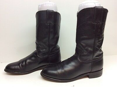 Womens Justin Western Roper Leather Black Boots Size 6.5 B