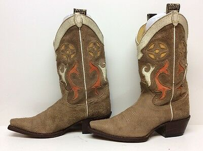 Vtg Womens Justin Snip Toe Cowboy Suede Leather Brown Boots Size 7 B