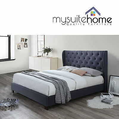 Rhea Contemporary Fabric Double/Queen Size Bed Frame with Large Winged Bed Head