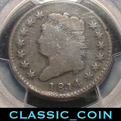 SCARCE COIN 1814 CLASSIC HEAD LARGE CENT 1c PCGS PLAIN 4 COPPER 202 YEARS OLD