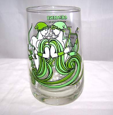 Vintage 1976 Arby's Zodiac Drinking Glass Tumbler Gemini Twins  Mint Condition
