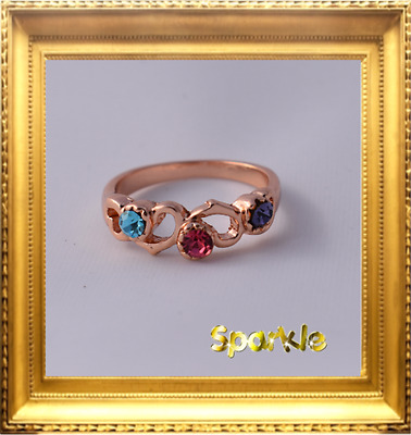 Beautiful Girls Gold pink blue purple Hearts Signet Ring approx 5-7 Years