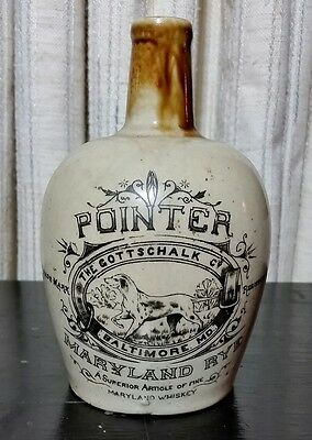 Antique c1890 POINTER Gottschalk BALTIMORE Maryland Rye Whiskey Crock Jug RARE