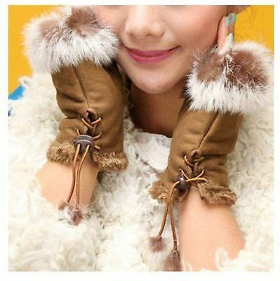 Women's Rabbit Fur Gloves Lady Winter Hand Wrist Warmer Fingerless Gloves