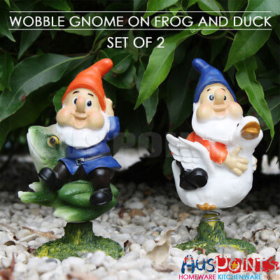 2PCS 19cm Garden Funny Gnome Wobbly Body Figurine Ornament Figurine Statue