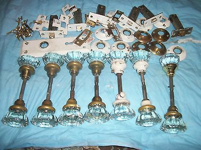 """1 Lot Of Vintage Crystal Glass Door Knobs 2"""" Diameter 12 Point With Some Hardwar"""