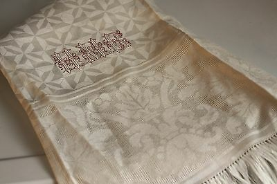 Large Antique Damask Linen Show Hand Towel Embroidered Redwork Monogram RARE!