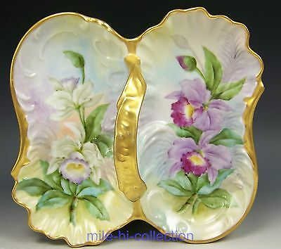 Beautiful Hand Painted Orchids Tidbit Divided Tray Condiment Dish