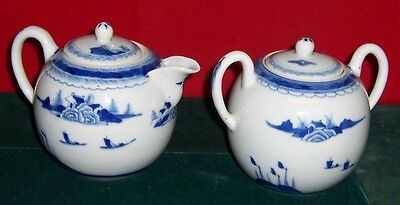 Vintage 19th Century Chinese Canton Large Creamer & Sugar Blue & White