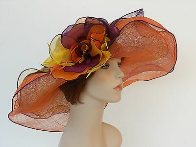 New Woman Church Derby Wedding Sinamay 3 Layers Dress Hat 2397 Purple Multicolor