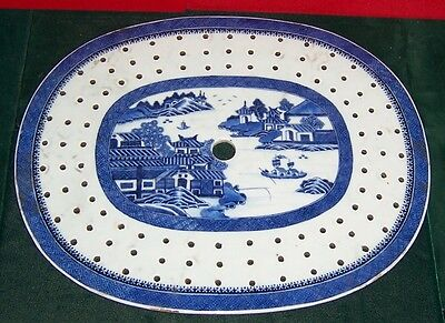 19 th century Chinese Canton Blue & White Large Fish Or Meat Strainer