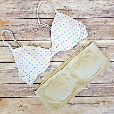 Girls Bra Lot 32 Strapless Bralette Training M Wire Cups Hearts Justice Tan