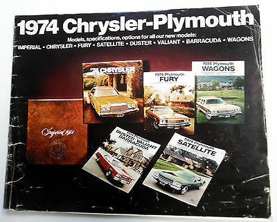 1974 CHRYSLER PLYMOUTH Car Model CATALOG Wagons Sportscars etc. VINTAGE 70's ak