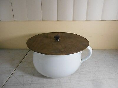 Antique Ceramic Commode Chamber Pot Slop Jar with Handle & Wooden Lid