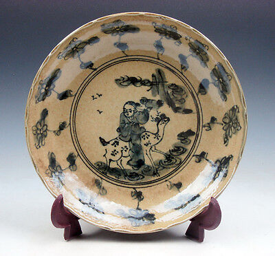 Antique Chinese Porcelain Plate *Ancient Deer Rider Flowers Patterns* #02171712