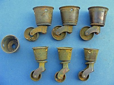 6 Vtg Antique Brass Round Top Cup Furniture Chair Replacement Casters, 2 Sizes