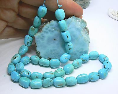 RARE NATURAL UNTREATED ARIZONA SLEEPING BEAUTY TURQUOISE NUGGET BEADS 10-11mm