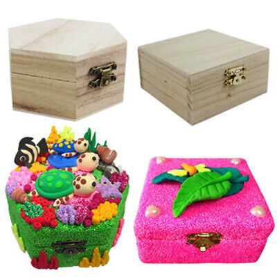 Unfinished Wood Box Blank Wooden Box Jewelry Gift Boxes for DIY Craft Woodcrafts