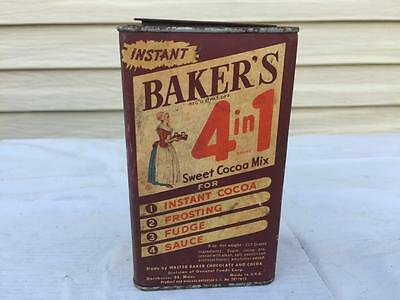 Old Baker's 4 in 1 Sweet Cocoa Mix Tin w Paper Label
