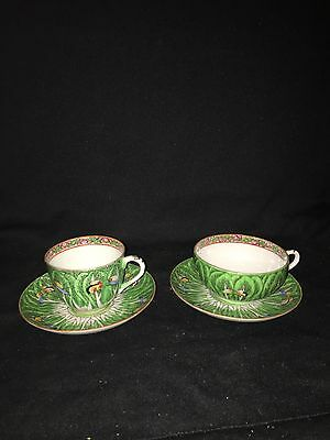 Pr 1920's Chinese Porcelain Cabbage Cups & Saucers